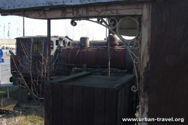 Old steamtrain on dump in Denmark