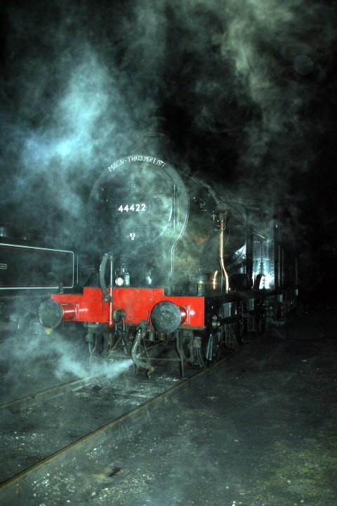 A steamy night shot of LMS 44422