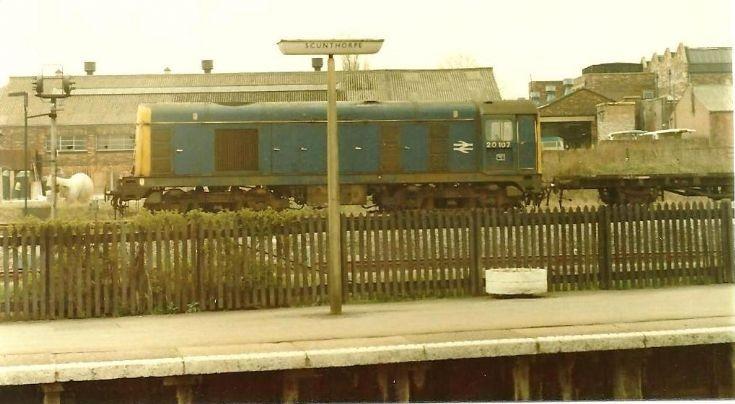 Class 20 in Scunthorpe yard.  20107.