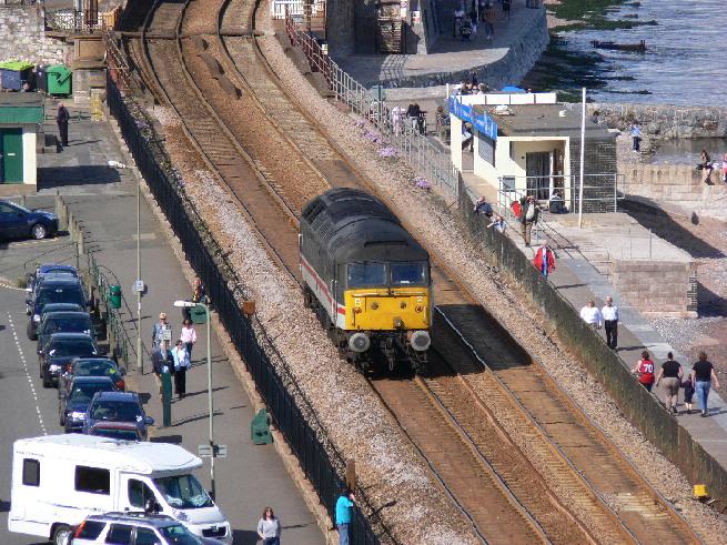 47826 Springburn light engine on Dawlish sea wall