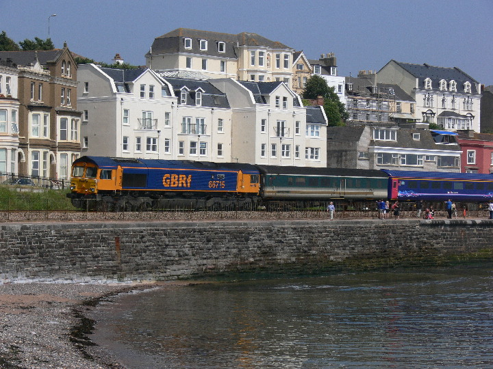 66715 at Dawlish with empty stock movement train