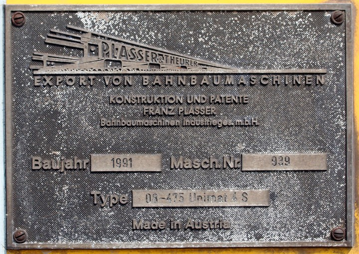 Plasser & Theurer Works Plate