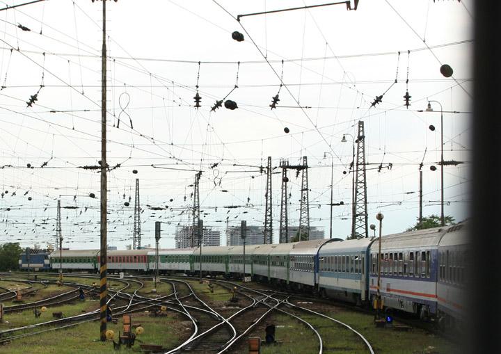 Sleeper train from Krakow entering Budapest