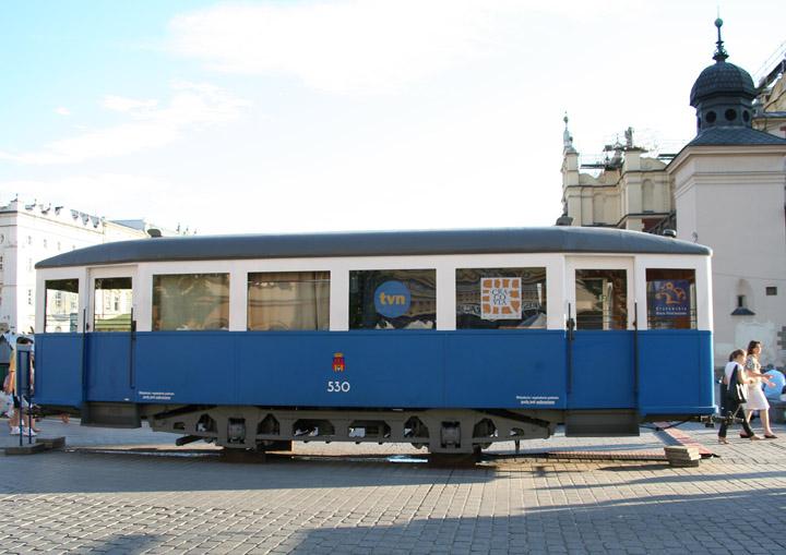 Konstal ND tram trailer on display at Krakow Rynek
