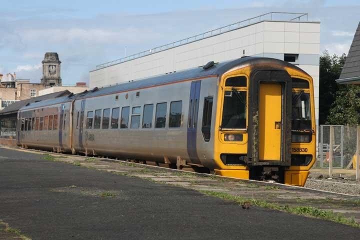 Arriva Wales 158830 leaves Aberystwyth station