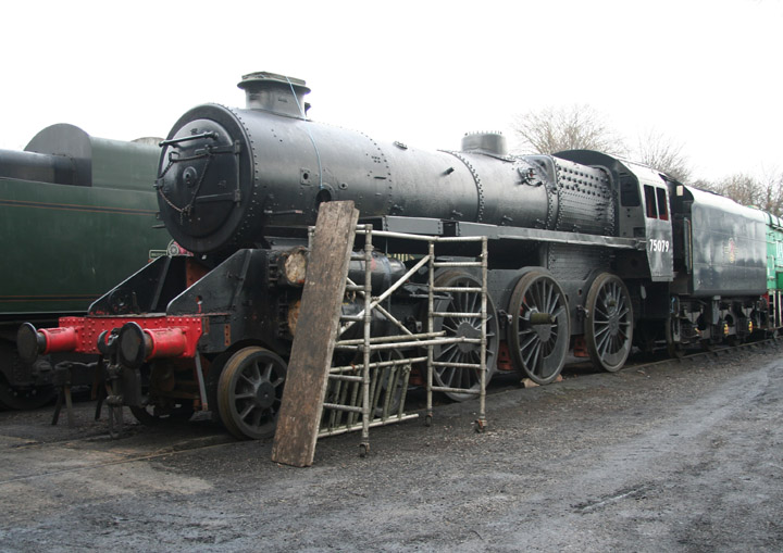 75079, BR Standard Class 4MT at Ropley shed