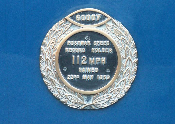 Plaque to commemorate 60007's speed record