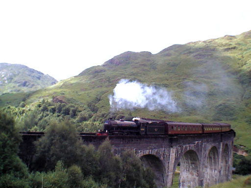 Jacobite Express crossing Glenfinnan Viaduct